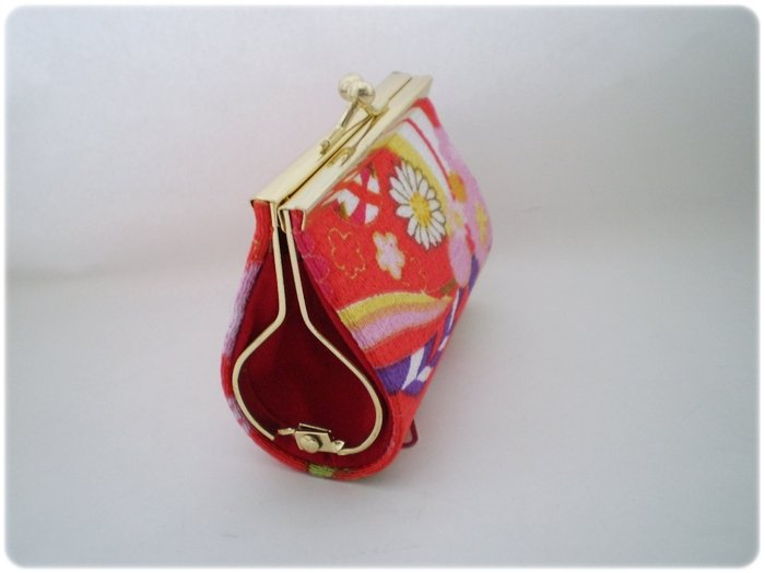 Japanese Red Flower Cute Chirimen Kimono fabric wallet coin purse
