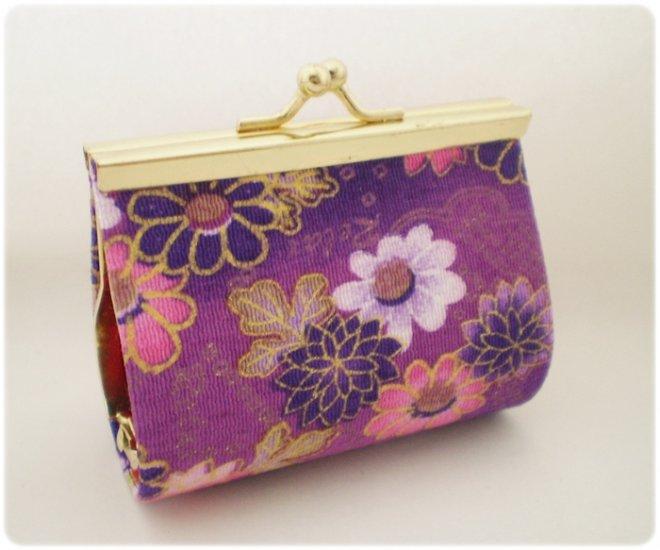 Japanese Purple Flower Cute Chirimen Kimono fabric wallet coin purse
