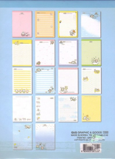 Cute character Letter Pad (blue)