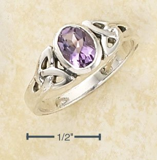 CELTIC TRINITY KNOT RING WITH OVAL AMETHYST