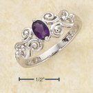 GENUINE AFRICAN AMETHYST RING IN  SCROLLED BAND