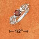 5MM ROUND GARNET RING W/ OPEN SCROLLED PINCHED RING