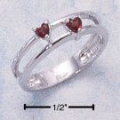 DOUBLE BAND RING W/ HEART SHAPED GENUINE GARNET