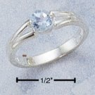STERLING SILVER RING W/ ROUND GENUINE SKY BLUE TOPAZ