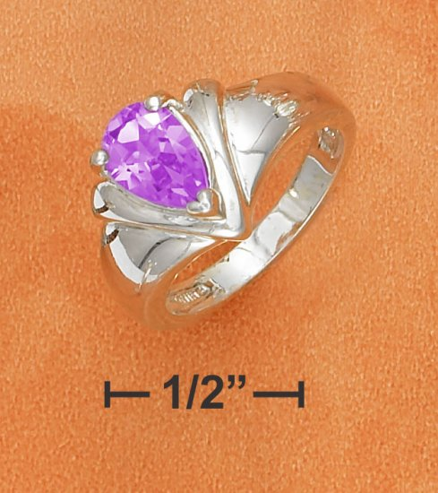 """9X6MM AMETHYST PEAR ON TAPERED SHANK WITH """"V"""" DESIGN"""
