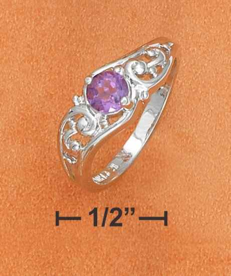 5MM ROUND AMETHYST OPEN SCROLLED WAVE RING