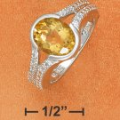 STERLING SILVER 10X8MM OVAL CITRINE W/ DIAMOND ACCENT RING