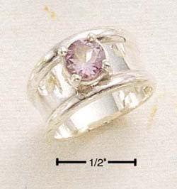 STERLING SILVER ROUND AMETHYST WITH HP WIDE BAND