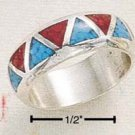 STERLING SILVER  TURQUOISE AND CORAL INLAY WEDDING BAND