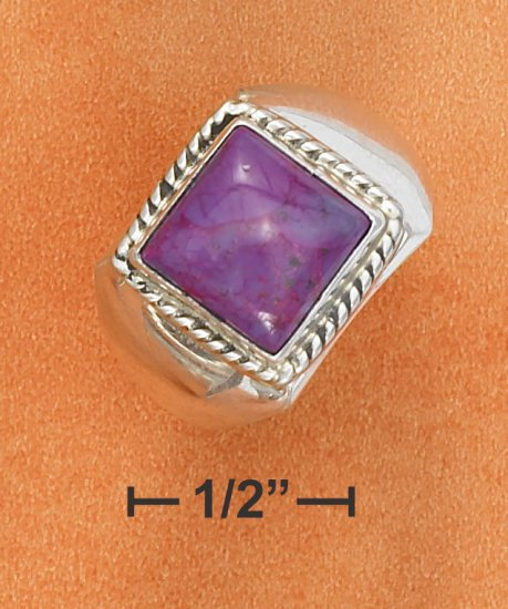 STERLING SILVER 10MM SQUARE MAGENTA STONE RING