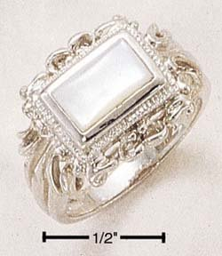SILVER BEZEL SET EMERALD CUT MOTHER OF PEARL RING