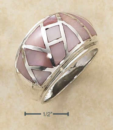 STERLING SILVER PINK SHELL DOME RING