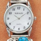 STERLING SILVER MENS TURQUOISE NUGGET WATCH