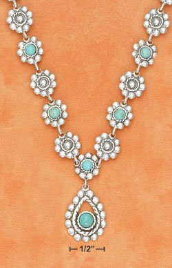 "16""-20"" ADJ FLOWER LINK W/ TURQUOISE STONE & DROP PENDANT NECKLACE"