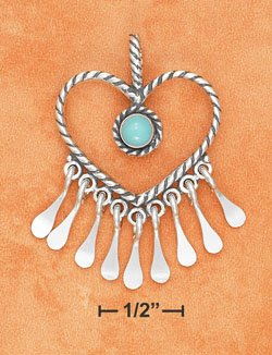 STERLING SILVER TWISTED WIRE HEART TURQUOISE NECKLACE
