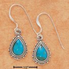 SILVER TURQUOISE TEARDROP FRENCH WIRE EARRINGS