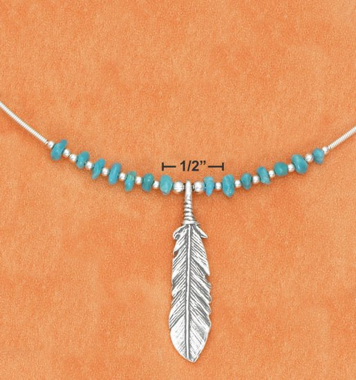 COIL NECKLACE W/ TURQUOISE NUGGETS & FEATHER