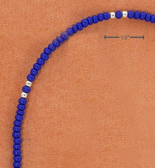 """9"""" SILVER & LAPIS COLORED PONY BEAD ANKLET"""