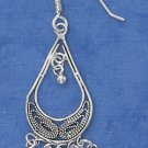 SILVER ANTIQUED FILIGREE OPEN TEAR EARRINGS