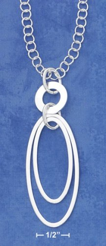 """STERLING SILVER 16""""  OPEN OVAL WITHIN OVAL NECKLACE"""