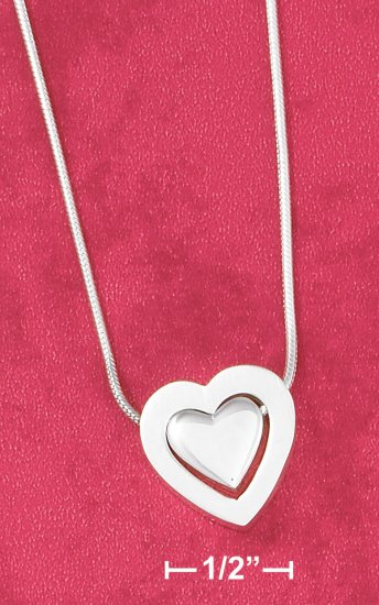 """STERLING SILVER 17"""" SATIN HEART IN HEART  NECKLACE"""