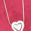 "STERLING SILVER 17"" SATIN HEART IN HEART  NECKLACE"