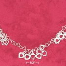 HEART LINK NECKLACE W/ CLUSTERS OF OPEN HEARTS