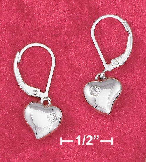PUFFED HEART LEVERBACK EARRINGS W/ 2MM PRINCESS-CUT CZ INSET