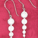 STERLING SILVER ROUND 5 CZ GRADUATED EARRINGS ON FRENCH WIRES