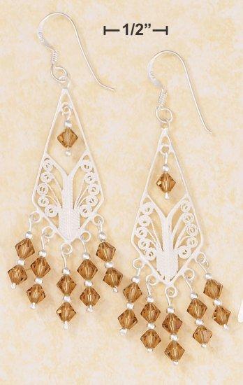 SILVER DIAMOND SHAPE FILIGREE EARRINGS W/CHAMPAGNE SWAROVSKI CRYSTAL