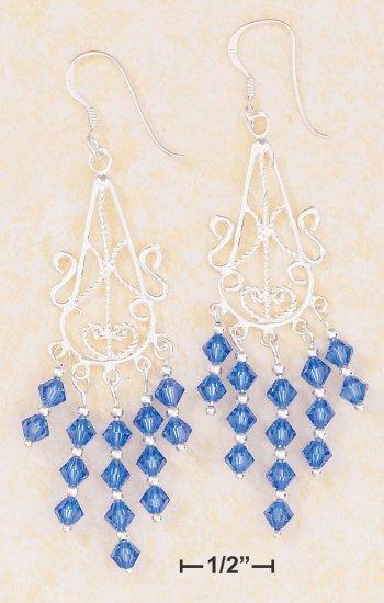 STERLING SILVER FILIGREE WIRE  DANGLE EARRINGS W/ROYAL BLUE SWAROVSKI CRYSTALS
