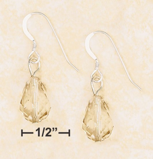 8X12MM FACETED CHAMPAGNE CRYSTAL TEARDROP EARRING