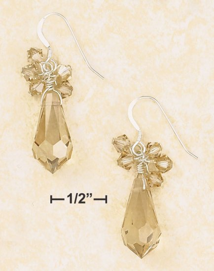 9X18MM CHAMPAGNE CRYSTAL BRIOLETTE & CLUSTER EARRINGS