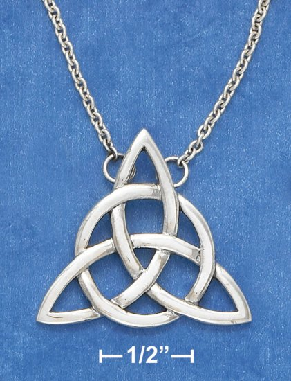 """SILVER 18"""" ANTIQUED TRIANGLE CELTIC CABLE CHAIN NECKLACE"""