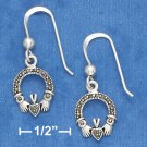 "SILVER 1/4"" MARCASITE CLADDAGH EARRINGS ON FRENCH WIRES"