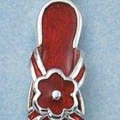 ENAMEL SANDAL W/ A RED ENAMEL FLOWER CHARM