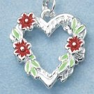 ENAMEL HEART W/ RED FLOWERS & GREEN LEAVES CHARM