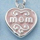 """STERLING SILVER """"MOM"""" IN PINK ENAMEL HEART CHARM"""