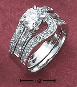 STERLING SILVER  2 PC WEDDING RING SET W/ LOOP BAND