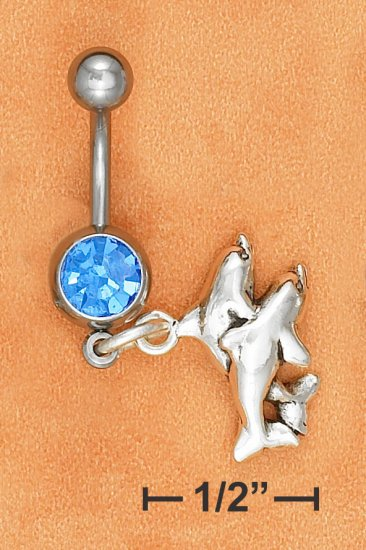 BELLY RING W/ SAPPHIRE GEMSTONE & DOUBLE DOLPHIN DANGLE