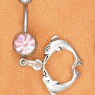 BELLY RING W/ PINK ICE GEMSTONE & KISSING DOLPHIN DANGLE