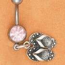BELLY RING W/ PINK ICE GEMSTONE & FLIP FLOP DANGLE