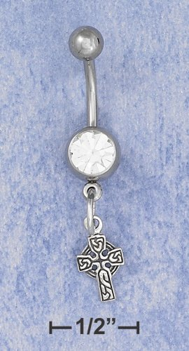 SILVER BELLY RING W/ .75 CT CZ /CELTIC CROSS DANGLE