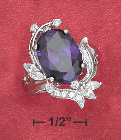 STERLING SILVER  5.8 CT OVAL SYNTHETIC TANZANITE  RING