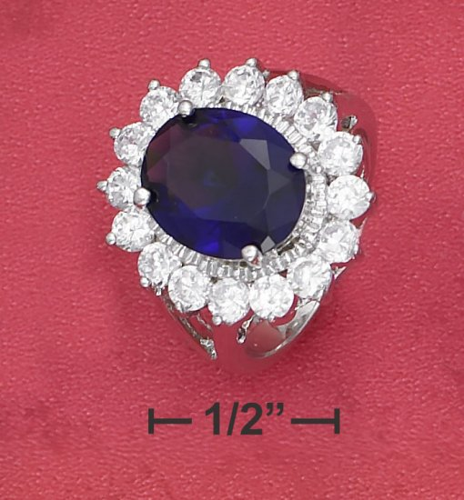 STERLING SILVER 5CT OVAL SYNTHETIC SAPPHIRE W/ CLEAR CZ BORDER