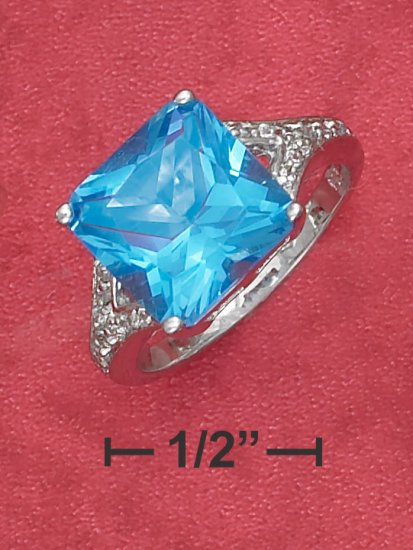 STERLING SILVER 7.5 CT  SQUARE SYNTHETIC  BLUE TOPAZ RING
