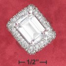 STERLING SILVER PAVE CZ FRAMED 9 CT  EMERALD CUT CLEAR CZ RING