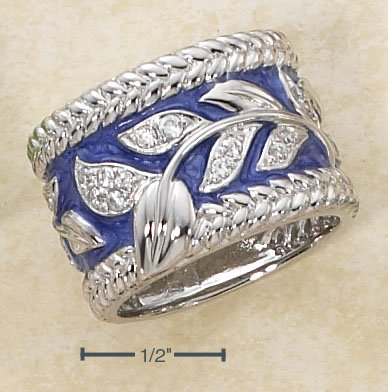 STERLING SILVER ENAMEL PERIWINKLE WIDE BAND RING