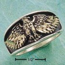 STERLING SILVER FLYING EAGLE BRONZED BAND MENS RING