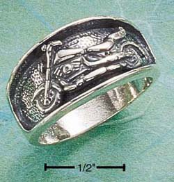 STERLING SILVER ANTIQUED INSET MOTORCYCLE BAND